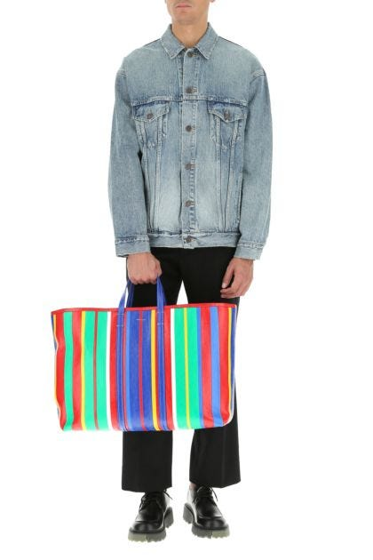 Multicolor leather large Barber shopping bag