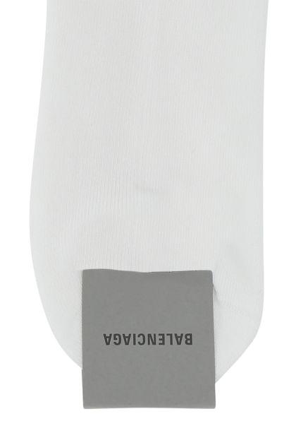 White cotton stretch blend socks