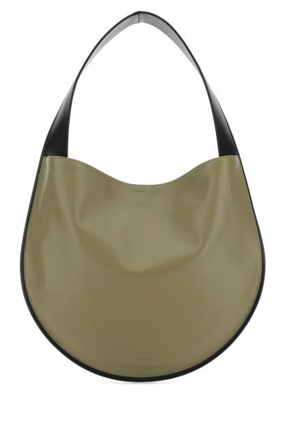 Two-tone nappa leather shoulder bag
