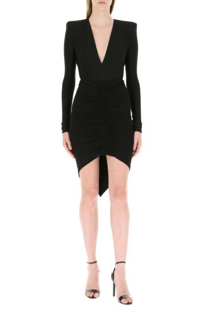 Black stretch viscose blend bodysuit