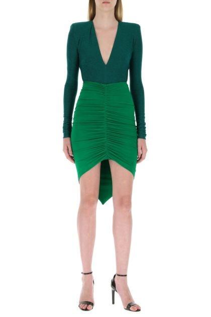 Emerald green stretch viscose blend bodysuit