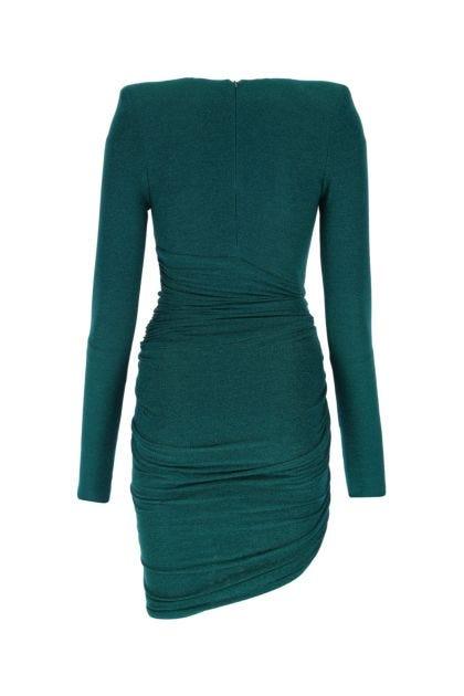 Emerald green stretch viscose blend dress