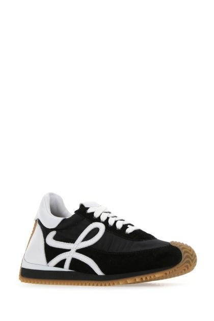 Two-tone fabric and leather Flow Runner sneakers
