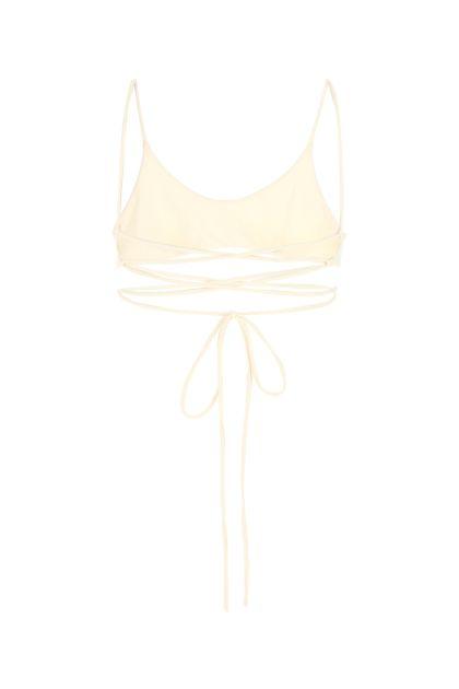 Ivory stretch nylon bikini top