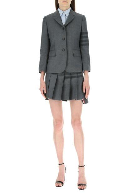 Grey wool and polyester blazer