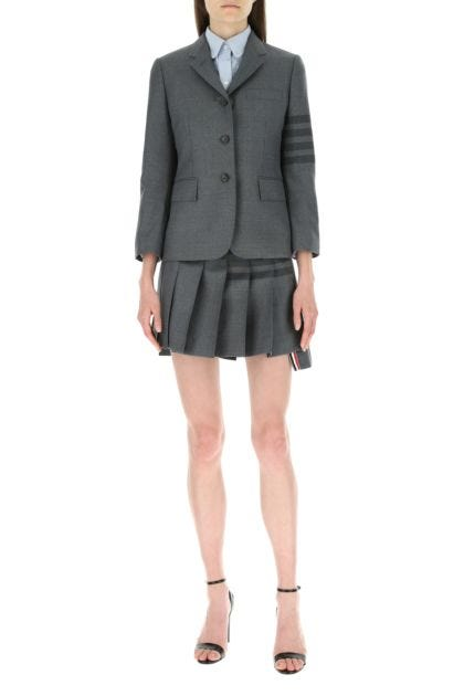 Grey wool and polyester mini skirt