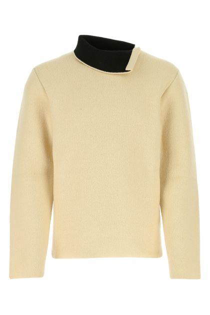 Cream stretch wool blend sweater