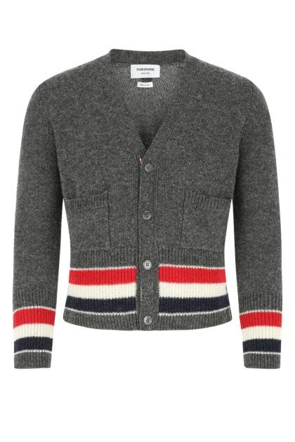 Melange dark grey wool cardigan