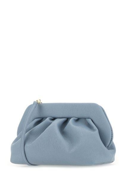 Powder blue synthetic leather Bios clutch