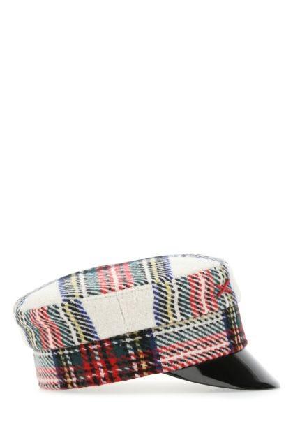Embroidered wool blend baker boy hat