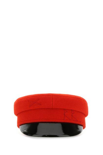 Red wool baker boy hat
