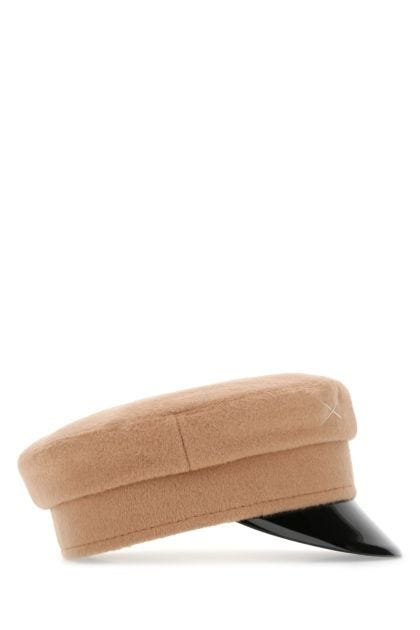Beige wool baker boy hat