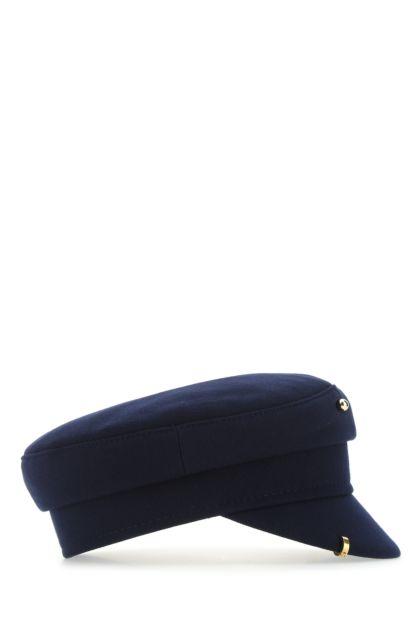 Dark blue cotton blend baker boy hat
