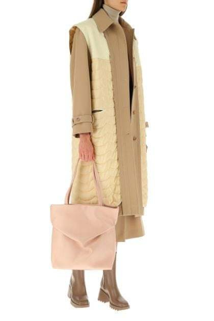 Pastel pink leather Judy shopping bag