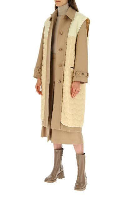 Multicolor wool and silk trench coat