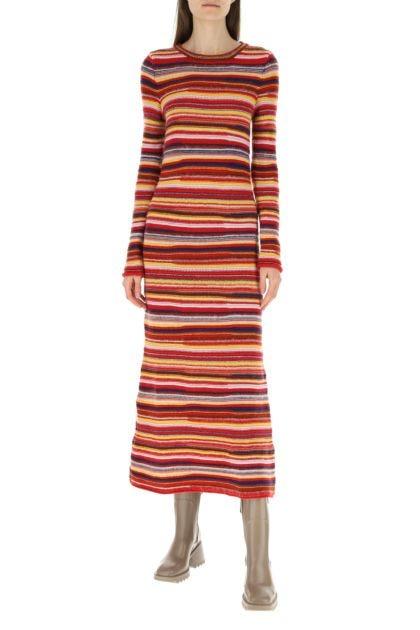 Embroidered cashmere blend dress