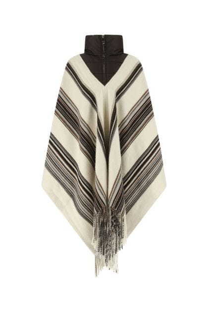 Embroidered cashmere blend poncho