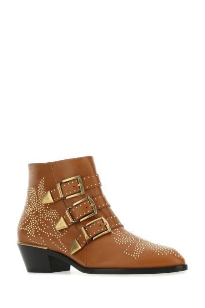 Caramel nappa leather Susan ankle boots