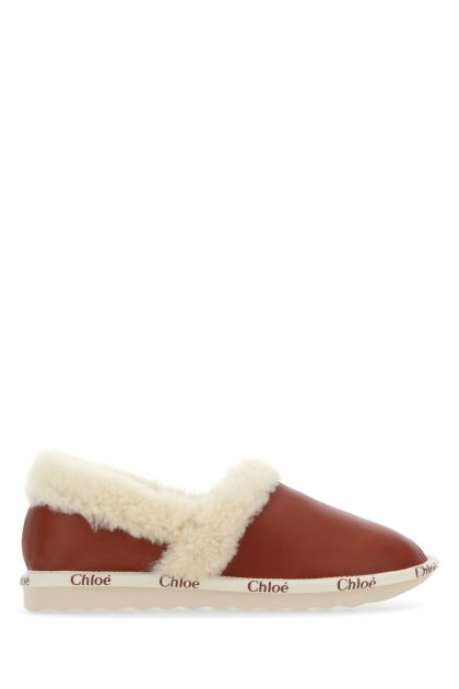 Caramel leather Woody slippers