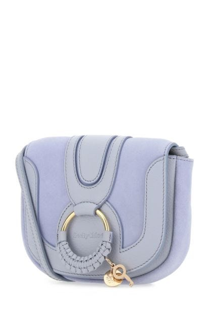 Lilac leather and suede mini Hana crossbody bag