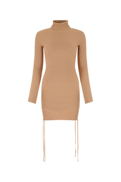 Powder pink stretch viscose blend dress