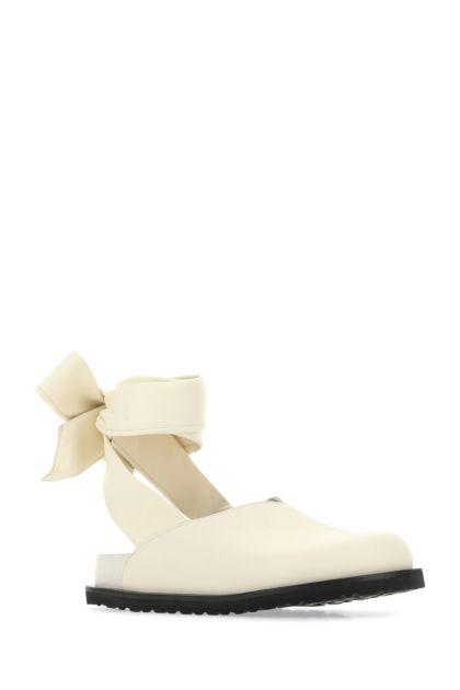 Ivory nappa leather Velan slippers