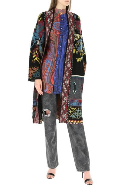 Embroidered wool blend cardigan