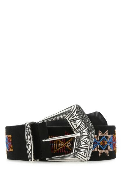 Embellished suede belt
