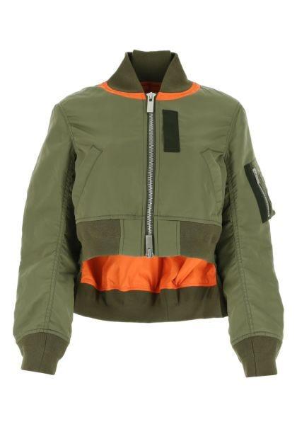 Army green nylon bomber jacket