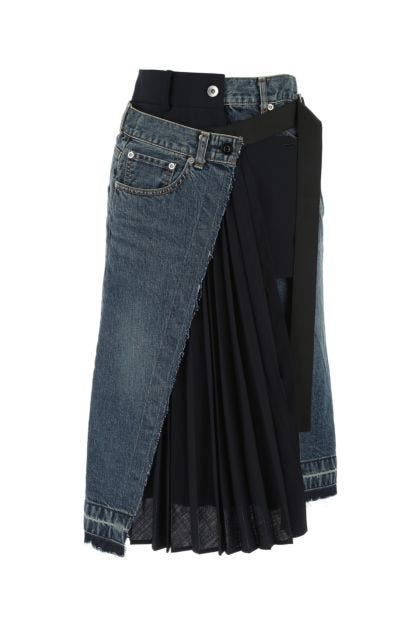 Two-tone denim and polyester blend skirt