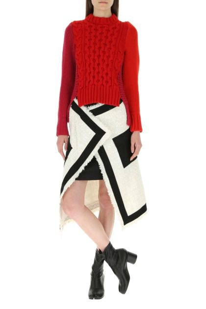 Two-tone tweed and cotton blend skirt