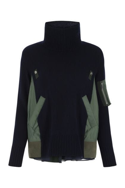 Two-tone wool and nylon sweater
