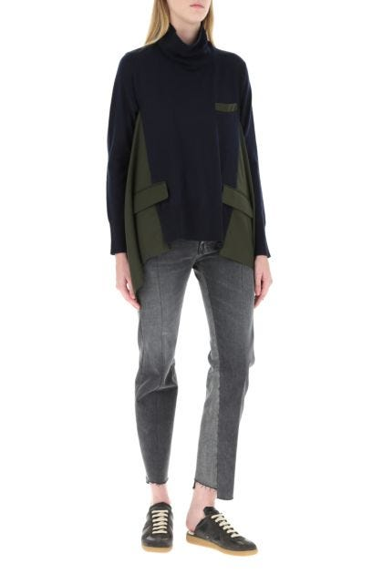 Two-tone wool and polyester blend sweater