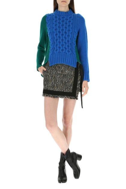 Multicolor bouclé pant-skirt