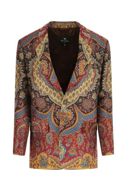Embroidered polyester blend blazer