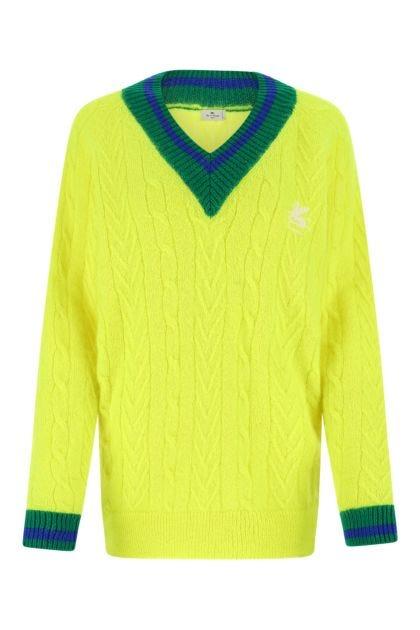 Fluo yellow mohair blend sweater