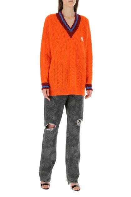 Orange mohair blend sweater