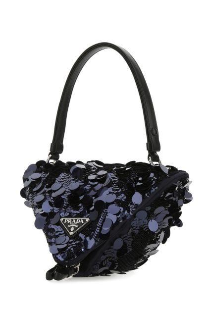 Embellished fabric handbag