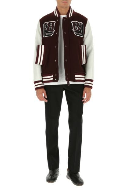Two-tone wool blend and leather bomber jacket