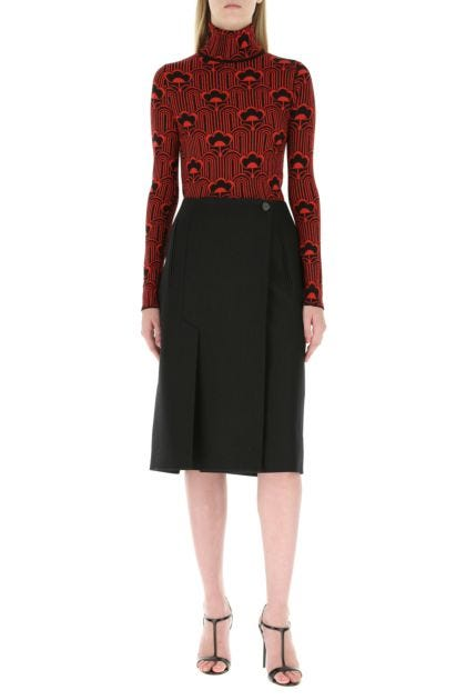 Embroidered stretch wool blend sweater