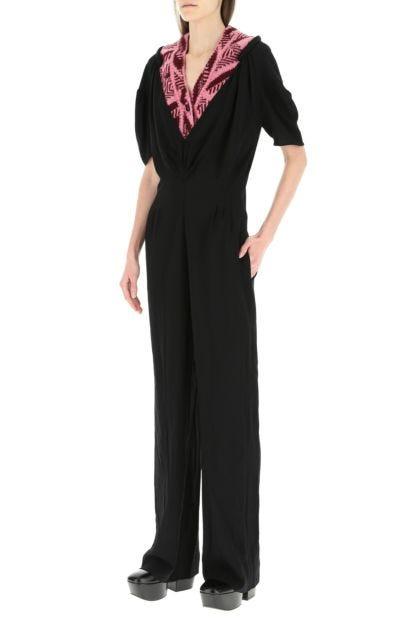 Black stretch viscose jumpsuit