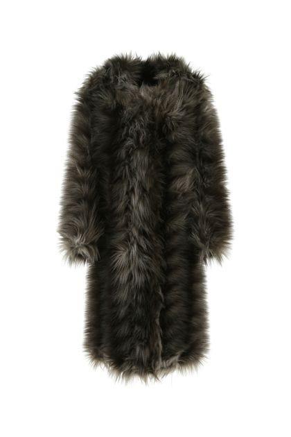 Multicolor eco fur coat