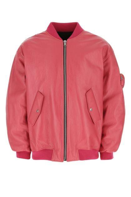 Salmon leather padded bomber jacket