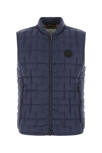 Blue nylon Deepsix sleeveless down jacket