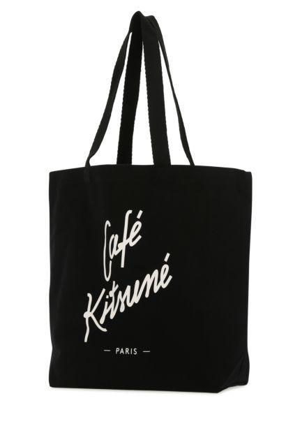 Black canvas shopping bag