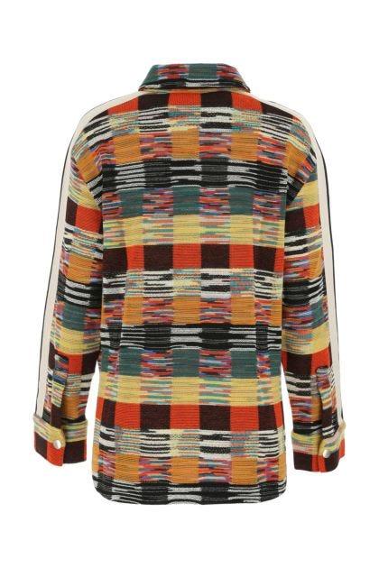 Embroidered wool blend shirt