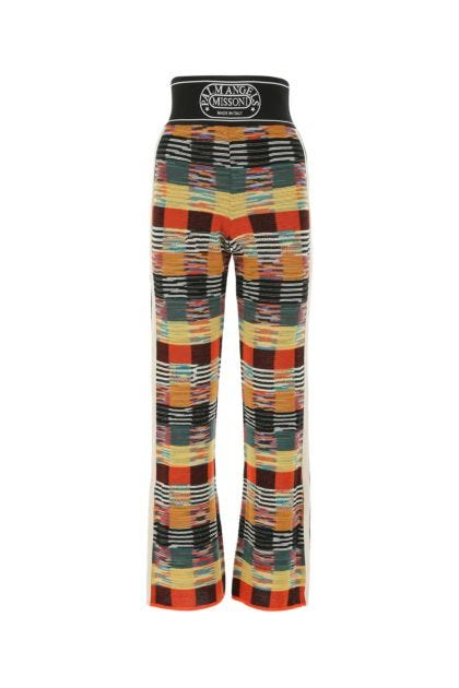 Embroidered wool blend palazzo pant