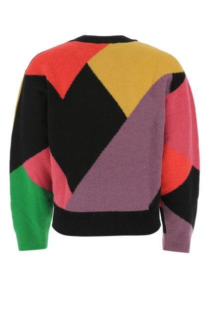 Multicolor stretch nylon blend sweater