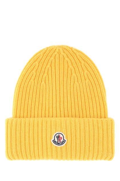 Yellow wool blend beanie
