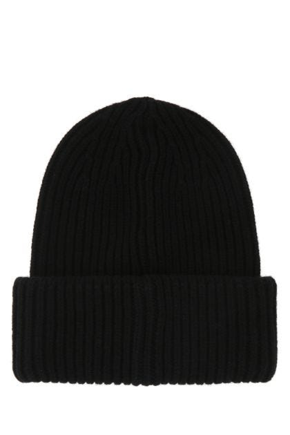 Black wool blend beanie